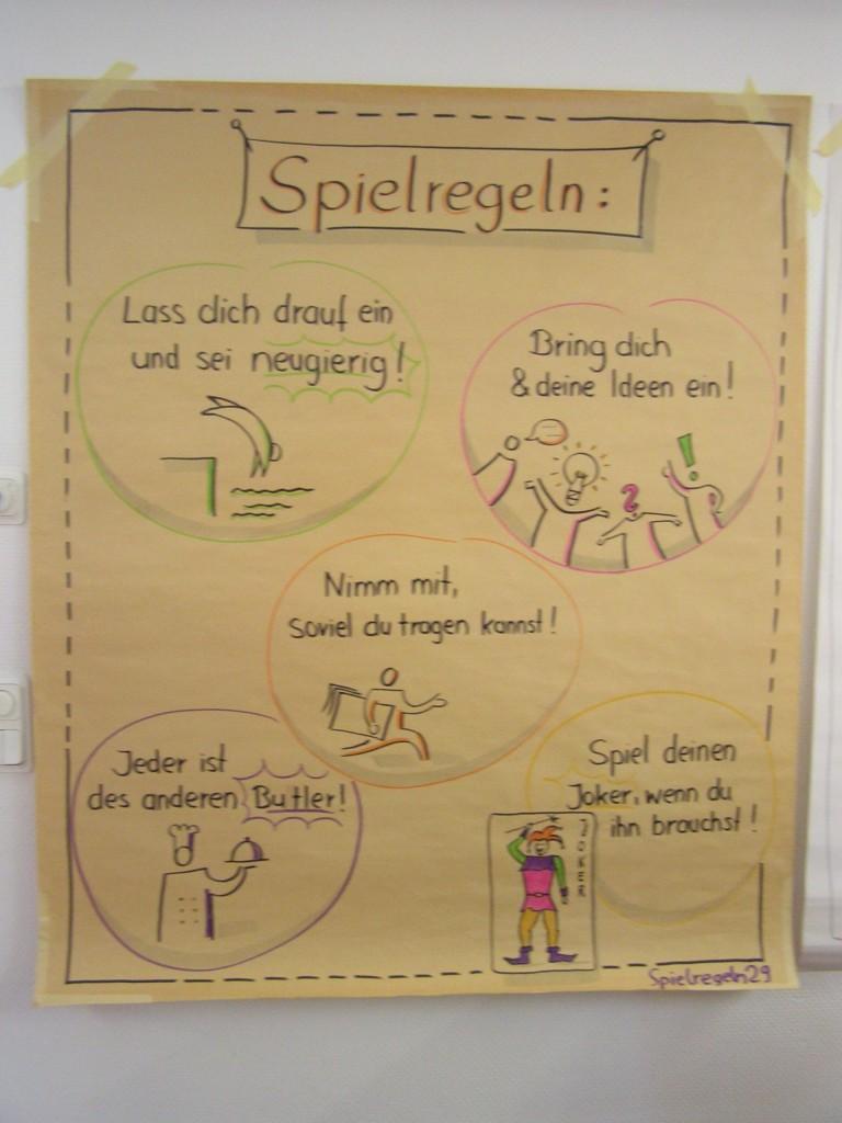 Plakat mit Workshop-Spielregeln
